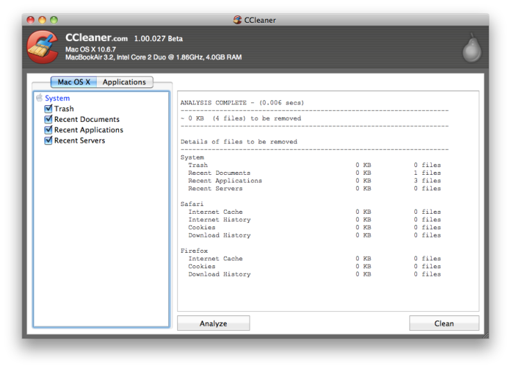 CCleaner 1.00.027 Beta for Mac