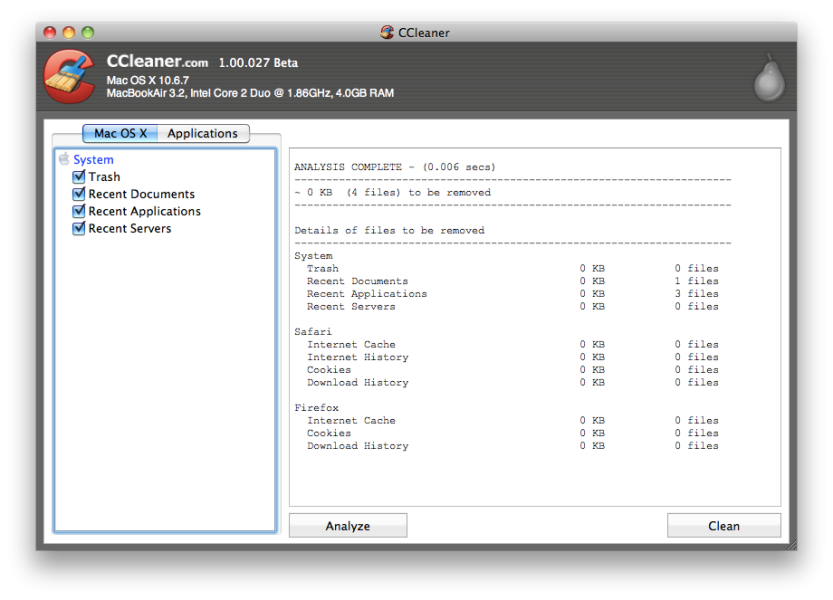 CCleaner 1.00.027 Beta for Mac