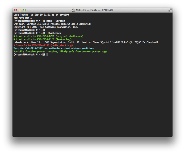 OS X bash Update 1.0 適用後