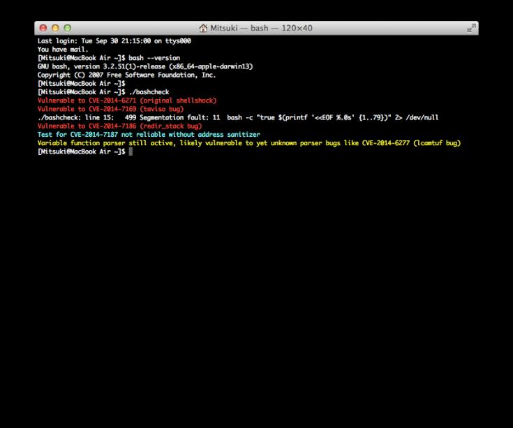 OS X bash Update 1.0 適用前