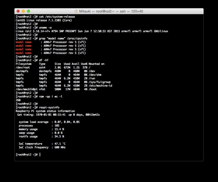 CentOS 7.1.1503 PoC armv7hl for RasPi2
